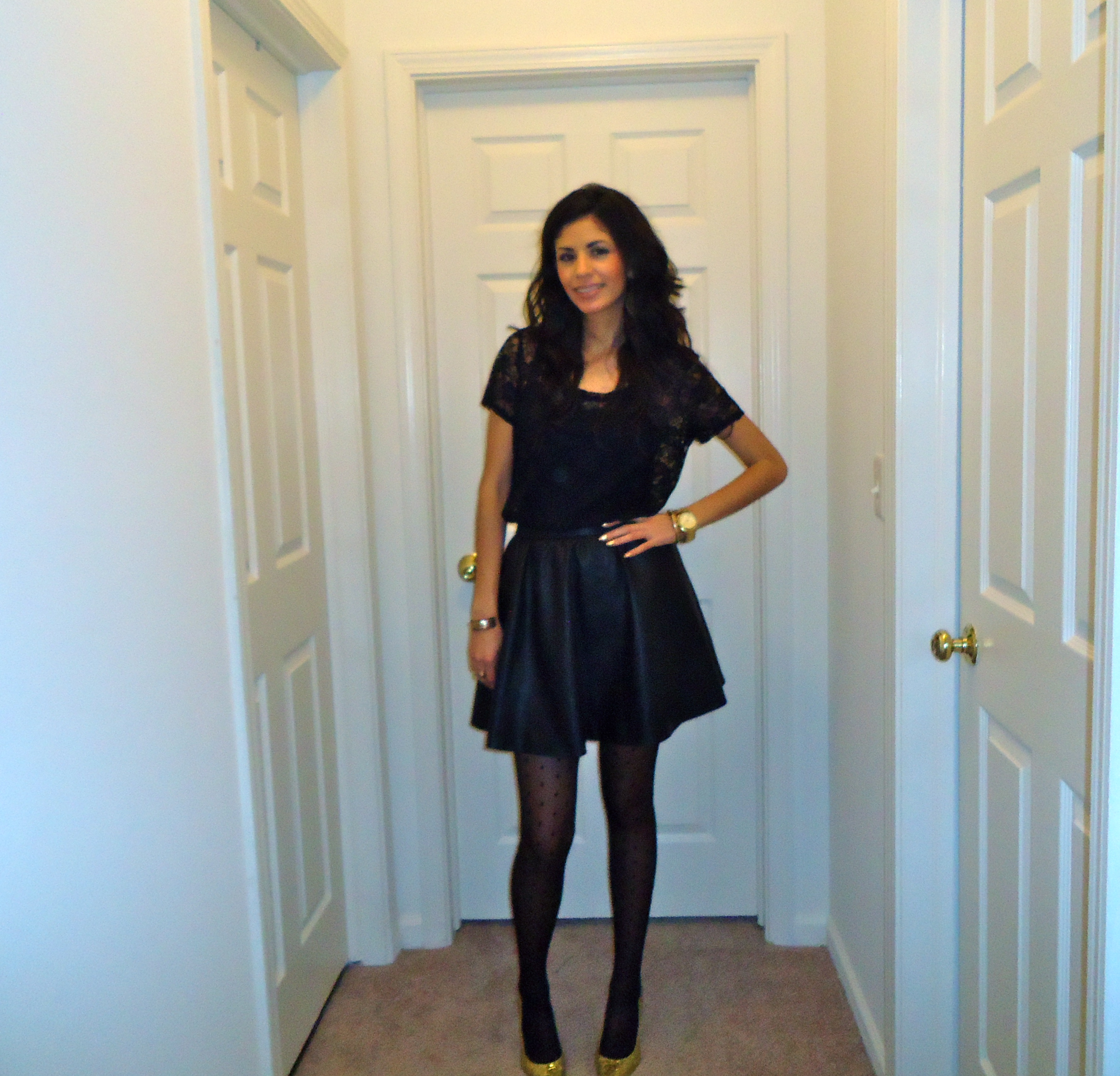 a line leather skirt and black lace the style soup