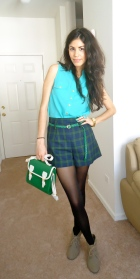 Mint green top, plaid shorts, tights