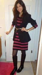 chic office outfit, stripped dress, black boyfriend blazer, flattering figure