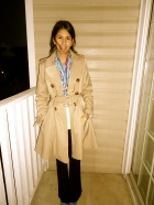 Miss Sixty Trench (2010), Silk scarf from Turkey, Kate Spade iPhone Case, H&M Electric Blue Pumps (Spring 2012)