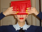 androgynous look, bowtie, ribbon tie, red lips, alternative, in Vogue, Daytime clutch