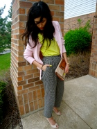 styling Houndstooth wool trousers, neon shirt, daytime clutch, peeptoe heels