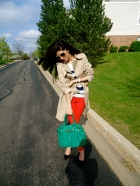 Parisian Chic, red jeans, trench coat, stripes, black pumps