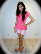 Peplum, polka dots, pink, spring, colorblock sandals
