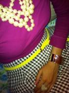 Preppy, pearls, neon belt, silver cuff